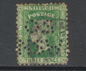 New South Wales Sc 63h, SG 226e used. 1886 3p QV Official, perforated OS / NSW