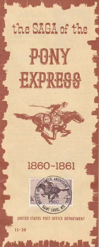 United States 1960 15 Page Booklet By the U.S.P.S. Tribute to the Pony Express.