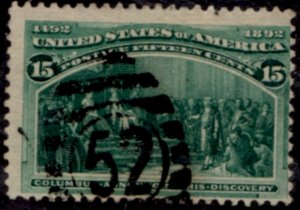 US Scott #238 Columbian Exposition - American Banknote Printing - Used CV~$83