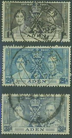 Aden SC#13-15 George VI, Coronation 3 Issue set, Used