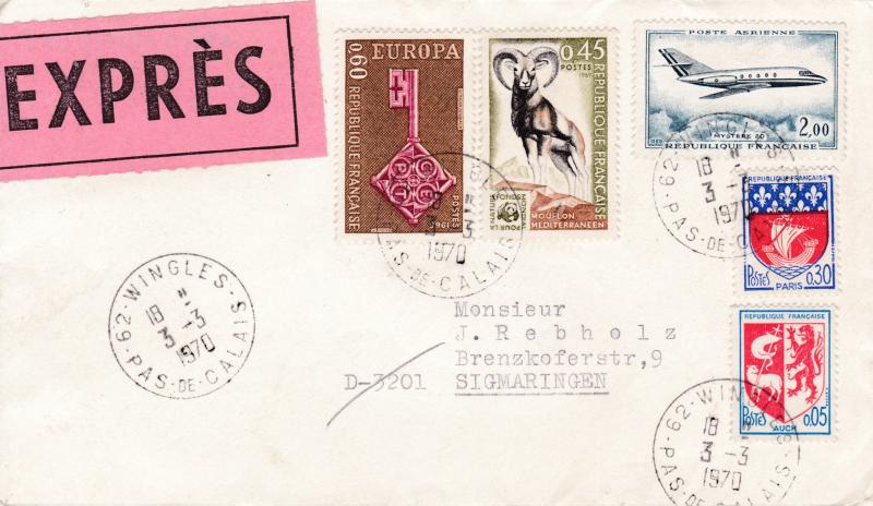 France 1970 Special Delivery Cover Franked with Europa Issues to Germany. VF