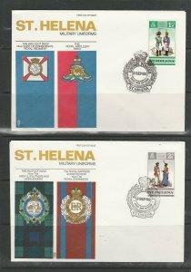 St Helena 1969 Uniforms, the 4 vals on 4 Illus FDCs, Unaddressed