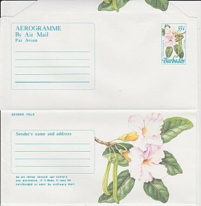BARBADOS 25c Flowers  aerogramme unused.....................................K304