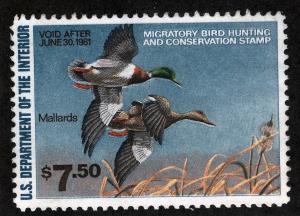 US Sc RW47 1980 $7.50 Federal Duck Disturbed OG