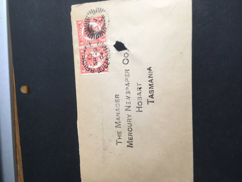 Queensland To Tasmania 1904 Cover-Punch Hole Away From Stamps And HS O/W VF