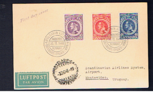 DENMARK 1946 1st Flight cover to S AMERICA