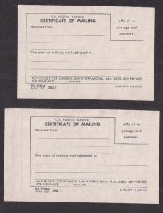 1971 Form 3817 Certificate of Mailing x2 Unusual Five Cents imprint