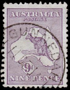 Australia Scott 9, Purple (1913) Used F-VF, CV $37.50 M