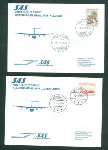 Greenland. Denmark 2 F.F.Covers 1979. SAS Dash 7. Copenhagen.-Reykjavik-Kulusuk