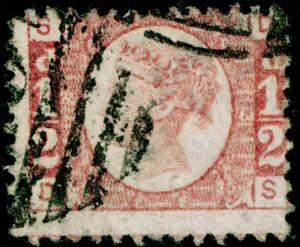 SG49, ½d rose PLATE 13, USED. Cat £22. DS