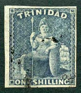 Trinidad 1859 (May) SG29 1/- indigo Fine Four Margins Cat 350 pounds