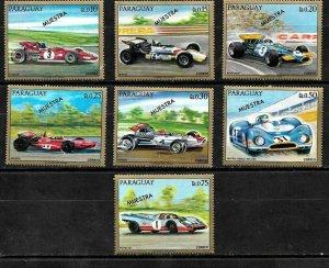 PARAGUAY 1972 OLD RACE CARS SPECIMEN MUESTRA VARIETY Mi 2287-93 MNH