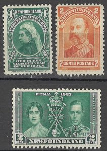 LLECTION LOT OF #1783 NEWFOUNDLAND 3 MH STAMPS 1897+