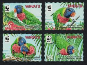 Vanuatu Birds WWF Rainbow Lorikeet 4v SG#1094-1097 SC#1007 MI#1443-1446 SALE