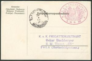 """1917, Hungary Torpedo Boat """"88"""" card, red oval"""