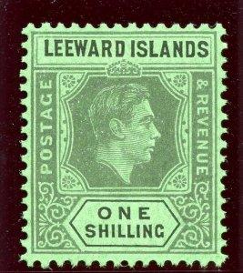 Leeward Islands 1942 KGVI 1s grey & black/emerald (O) superb MNH. SG 110ba.