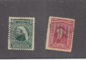 NEWFOUNDLAND (MK2807) # 61-62 VF-USED 1-2cts 1897 QUEEN VICTORIA / JOHN CABOT