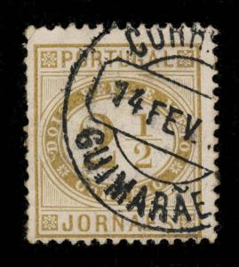 PORTUGAL - 189?  GUIMARÃES  Type 1 Circle Date Stamp on MiNr.65yb 2 1/2R Olive