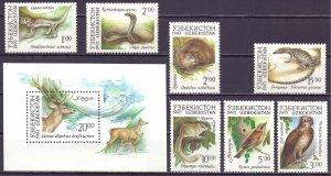 Uzbekistan. 1993. 7-13, bl1. Fauna of Uzbekistan. MNH.