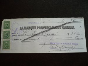 Canada - Revenue Stamps on cheque