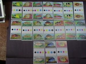 COCOS ISLANDS # 34-50-MNH-COMPLETE SET-TRAFFIC LIGHT/GUTTER PAIRS--FISH--1979(A)