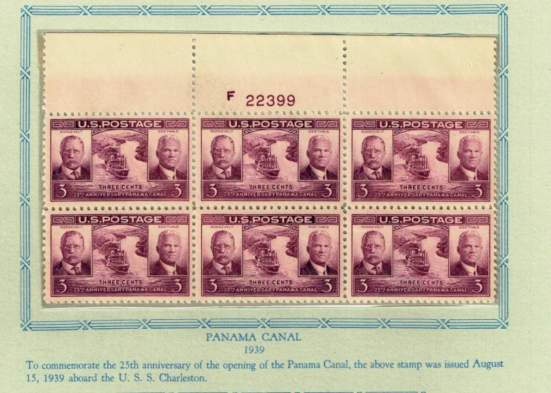 US STAMP # 856 – 1939 3c Panama Canal MNH PL# BLK OF 6