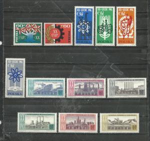 Poland Scott catalogue #1244-1255 Unused Hinged