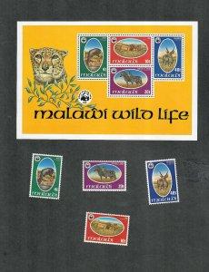 Malawi Sc#319-322, 322a M/NH/VF, Animals, Cv. $156.50