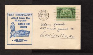 DC First Observance Armed Forces Day Military 1950 Washington Stamp Cover