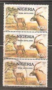 Nigeria  SC 615D  Used strip of 3