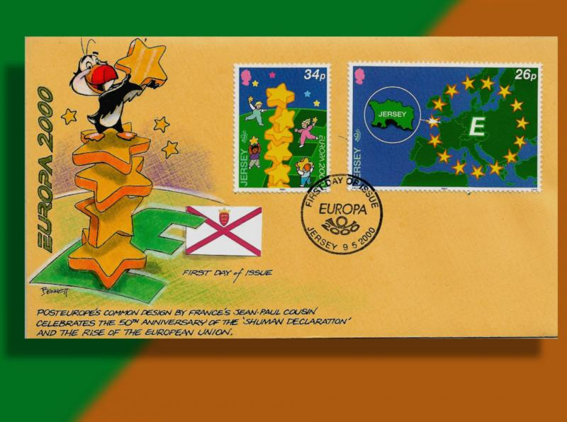 Jersey Celebrates EUROPA 2000 with a Stack of Stars - Handcolored FDC