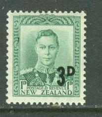 New Zealand # 279 George VI Surcharged (1) VLH