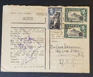 Ceylon to Johnstown Pennsylvania USA Signed Personal Private Censorship Cover
