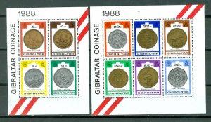 GIBRALTAR COINS #556-557...SHEETS...MNH...$10.00