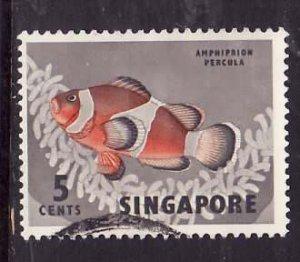 Singapore-Sc#55-used 5c gray & red orange-Fish-1962-