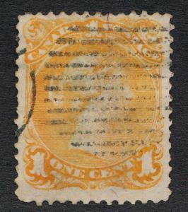 CANADA 23 USED F-VF, 1c YELLOW ORANGE