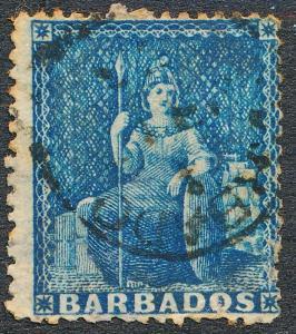 BARBADOS 11 USED, PIN PERF, BLUE