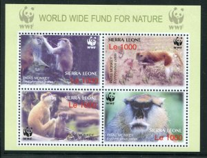 Sierra Leone 2004 Sc 2752 Mini Sheet NOT SCOTT LISTED WWF Monkey