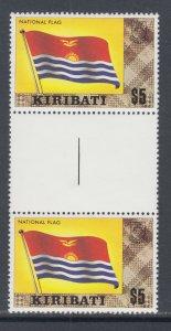 Kiribati Sc 340c MNH. 1980 $5 Flag, gutter pair, top value to set.