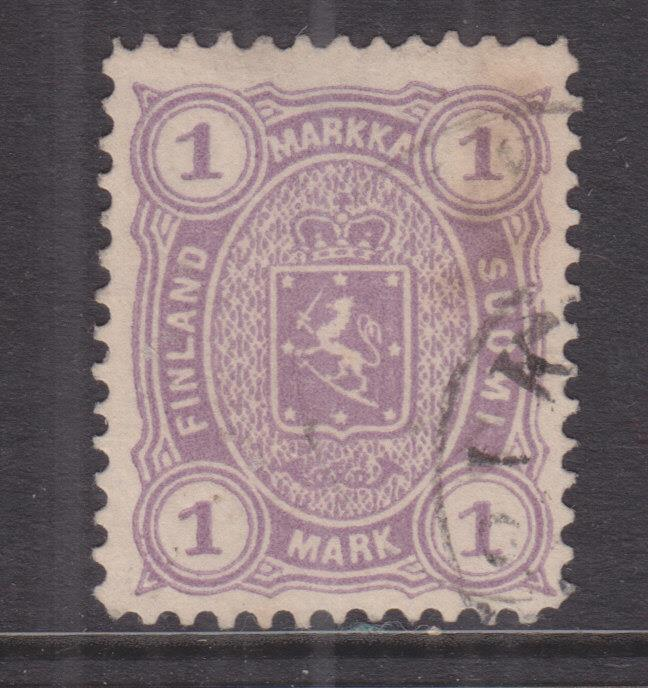 FINLAND, 1881 perf. 12 1/2, 1m. Mauve, used, pen mark on reverse.