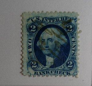 #R5 – 1862-71 2c bl, bank check,old paper error stamp