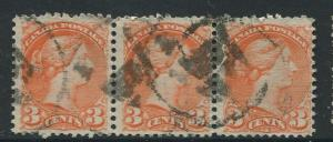 Canada -Scott 37 - Queen Victoria -1873 - Used - Horiz.Strip of 3 X 3c Stamp