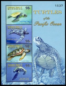Micronesia Stamps 2009 MNH Turtles of Pacific Ocean Leatherback Turtle 4v M/S