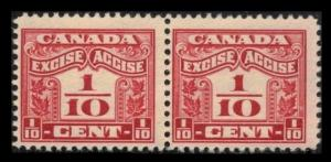 CANADA REVENUE 1915 #FX34 3/10c CARMINE MNH PAIR OF FRACTIONAL EXCISE TAX STAMP