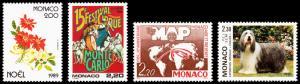 Monaco Scott 1699, 1700, 1701, 1704 (1989-90) Mint NH VF