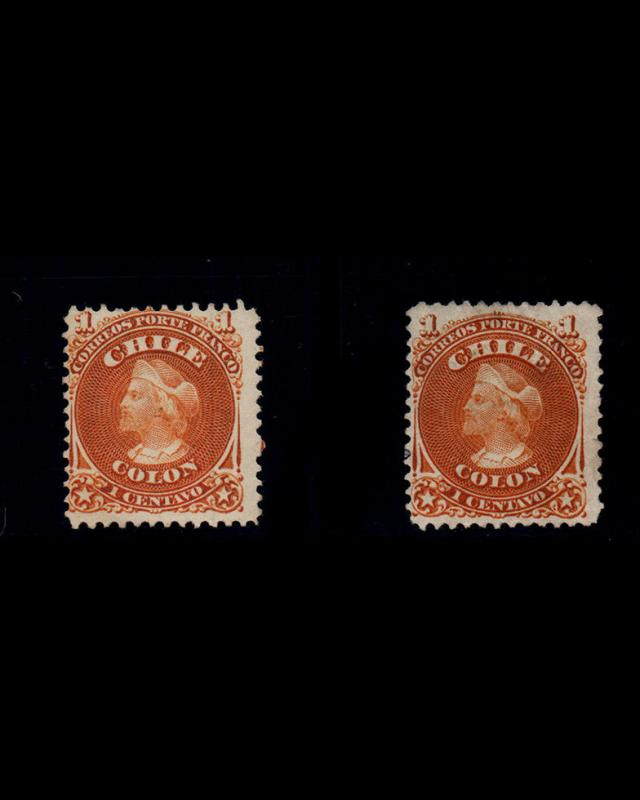 VINTAGE:CHILE 1867 UN,LH FRESH SCOTT # 15 $ 56 LOT # CH1869