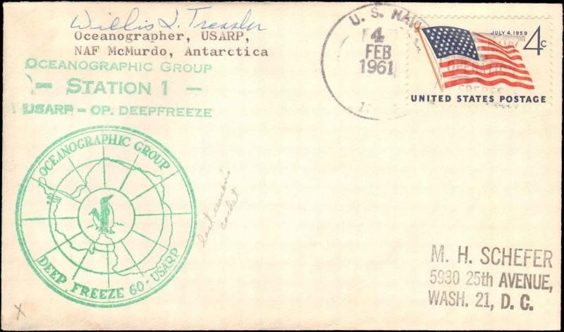 1961 US NAVY ANTARCTIC OCEANOGRAPHIC GROUP STATION 1 CACHET + SIGNED