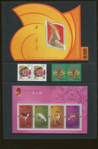 2003 Lunar New Year - Year of The Ram - China & Hong Kong Stamp Set Portfolio