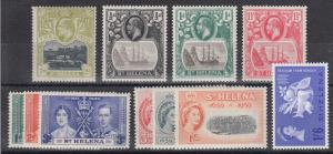 St. Helena Sc 52/173 MLH. 1903-1963 issues, 4 diff singles + 3 cplt sets