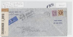 GB (BELFAST)-USA 1942 CENSOR(#1,093) COVER TAPE TYPE 1B3 SCARCE, 1sh3(SEE BELOW)